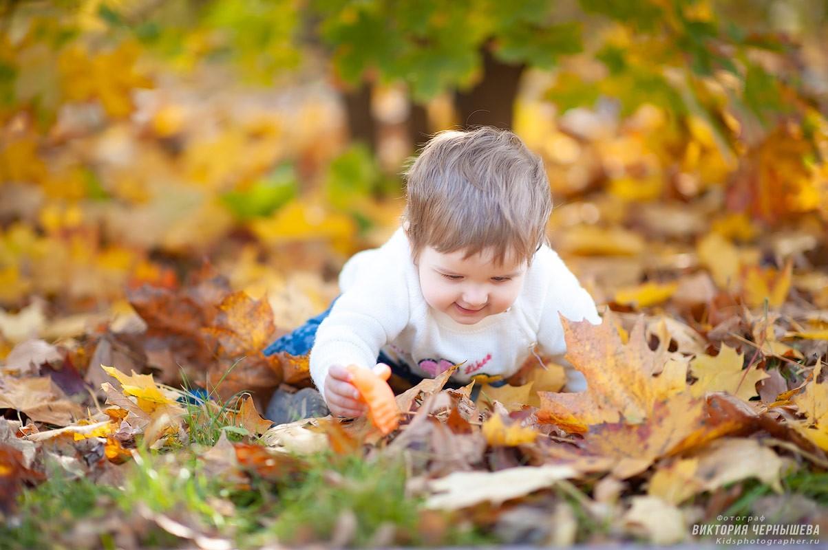 ребенок ползает по осеннему парку